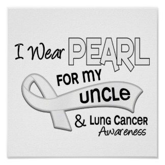I Wear Pearl For My Uncle 42 Lung Cancer Poster