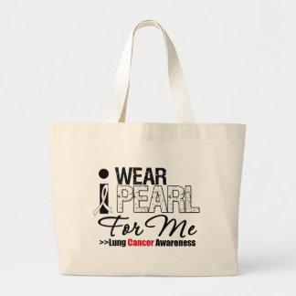 I Wear Pearl Ribbon For Me Large Tote Bag