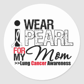 I Wear Pearl Ribbon For My Mom Stickers