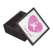 I wear Pink- A breast cancer awareness symbol Jewelry Box