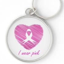 I wear Pink- A breast cancer awareness symbol Keychain