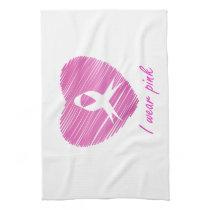 I wear Pink- A breast cancer awareness symbol Kitchen Towel