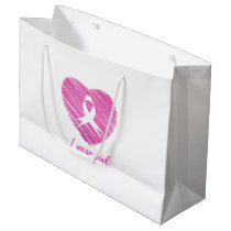 I wear Pink- A breast cancer awareness symbol Large Gift Bag