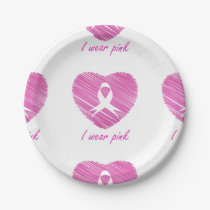 I wear Pink- A breast cancer awareness symbol Paper Plate