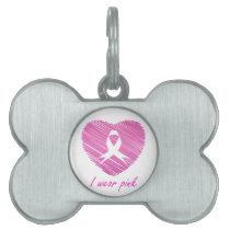 I wear Pink- A breast cancer awareness symbol Pet ID Tag