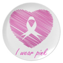 I wear Pink- A breast cancer awareness symbol Plate