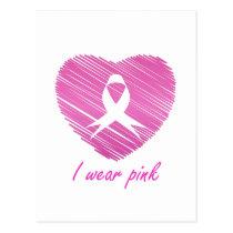 I wear Pink- A breast cancer awareness symbol Postcard