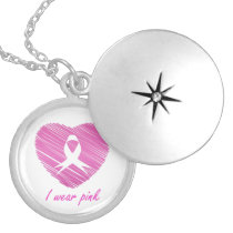 I wear Pink- A breast cancer awareness symbol Silver Plated Necklace