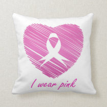 I wear Pink- A breast cancer awareness symbol Throw Pillow