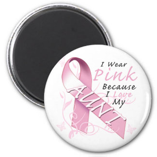 I Wear Pink Because I Love My Aunt 2 Inch Round Magnet