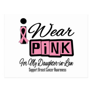 I Wear Pink Breast Cancer Daughter-in-Law (Retro) Postcard