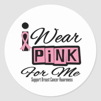 I Wear Pink Breast Cancer For Me (Retro) Round Stickers