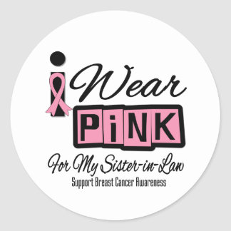 I Wear Pink Breast Cancer Sister-in-Law (Retro) Round Stickers