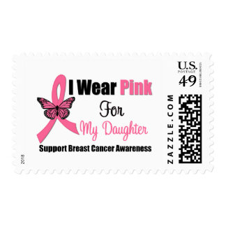 I Wear Pink Butterfly Ribbon For My Daughter Postage Stamp