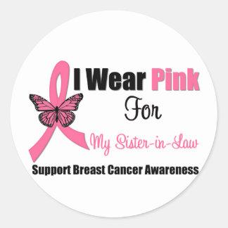 I Wear Pink Butterfly Ribbon For My Sister-in-Law Sticker