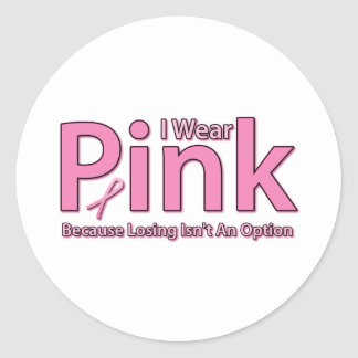 I Wear Pink Classic Round Sticker