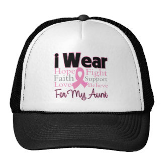 I Wear Pink Collage Aunt - Breast Cancer Hats