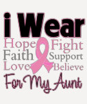I Wear Pink Collage Aunt - Breast Cancer Tee Shirt