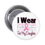 I Wear Pink Collage Daughter - Breast Cancer Pinback Button