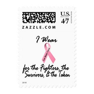 I Wear Pink Fighters Survivors Taken 1 Breast Canc Postage Stamp