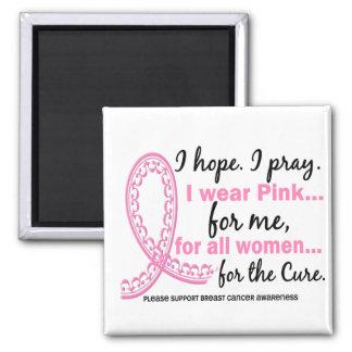I Wear Pink For ME Filigree Pink Ribbon 2 Inch Square Magnet