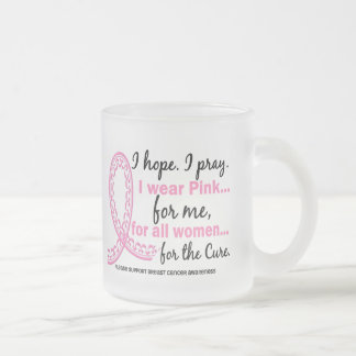 I Wear Pink For ME Filigree Pink Ribbon 10 Oz Frosted Glass Coffee Mug