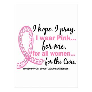 I Wear Pink For ME Filigree Pink Ribbon Postcard