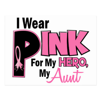 I Wear Pink For My Aunt 19 BREAST CANCER Postcard
