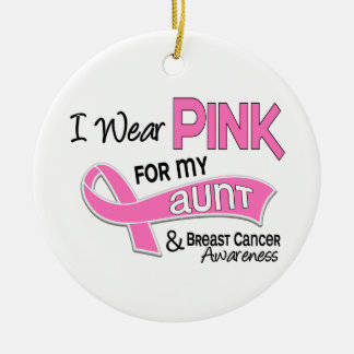I Wear Pink For My Aunt 42 Breast Cancer Double-Sided Ceramic Round Christmas Ornament