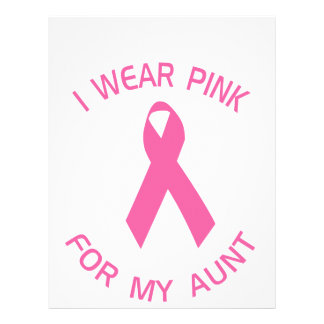 """I Wear Pink For My Aunt Breast Cancer Awareness 8.5"""" X 11"""" Flyer"""