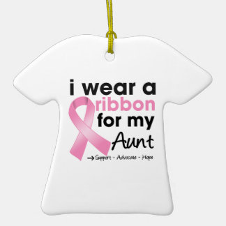 I Wear Pink For My Aunt Breast Cancer Double-Sided T-Shirt Ceramic Christmas Ornament