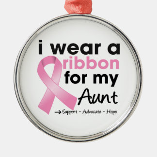 I Wear Pink For My Aunt Breast Cancer Round Metal Christmas Ornament