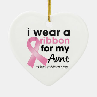 I Wear Pink For My Aunt Breast Cancer Double-Sided Heart Ceramic Christmas Ornament
