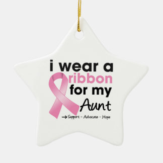 I Wear Pink For My Aunt Breast Cancer Double-Sided Star Ceramic Christmas Ornament