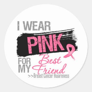 I Wear Pink For My Best Friend Breast Cancer Sticker