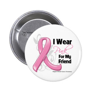 I Wear Pink For My Friend - Breast Cancer Pinback Button
