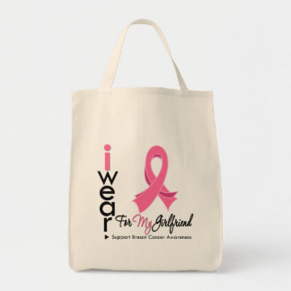 I Wear Pink For My Girlfriend Breast Cancer Bags