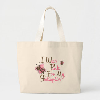 I Wear Pink For My Goddaughter 22 BREAST CANCER Large Tote Bag