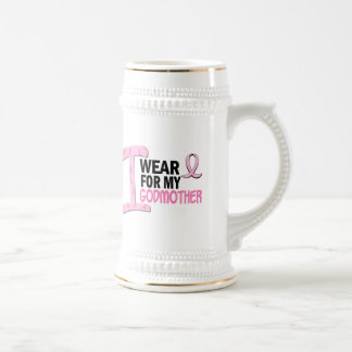 I Wear Pink For My Godmother 21 BREAST CANCER Tees 18 Oz Beer Stein