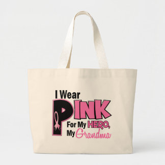 I Wear Pink For My Grandma 19 BREAST CANCER Large Tote Bag