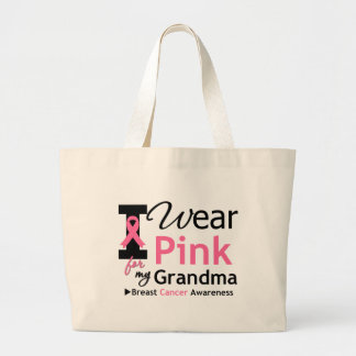 I Wear Pink For My Grandma Large Tote Bag