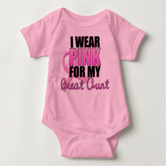 I Wear Pink for My Great Aunt - Breast Cancer Baby Bodysuit