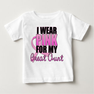 I Wear Pink for My Great Aunt - Breast Cancer Baby T-Shirt