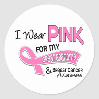 I Wear Pink For My Great Grandma 42 Breast Cancer Round Sticker