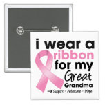 I Wear Pink For My Great-Grandma Breast Cancer 2 Inch Square Button