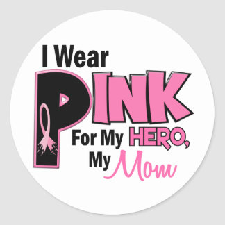 I Wear Pink For My Mom 19 BREAST CANCER Classic Round Sticker