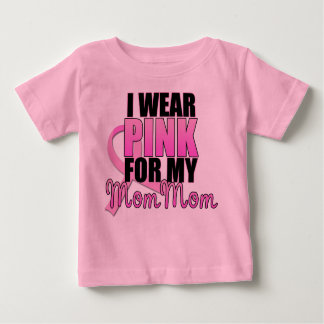 I Wear Pink for My Mom Mom - Breast Cancer Baby T-Shirt