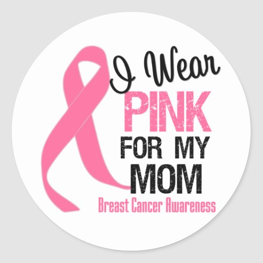 Breast cancer ribbon i wear pink mom stickers