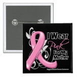 I Wear Pink For My Mother - Breast Cancer 2 Inch Square Button