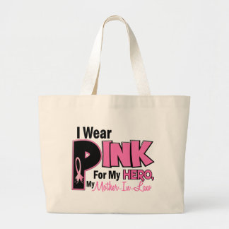 I Wear Pink For My Mother-In-Law 19 BREAST CANCER Large Tote Bag